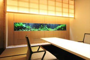 日本料理店に埋め込み型淡水魚水槽を設置